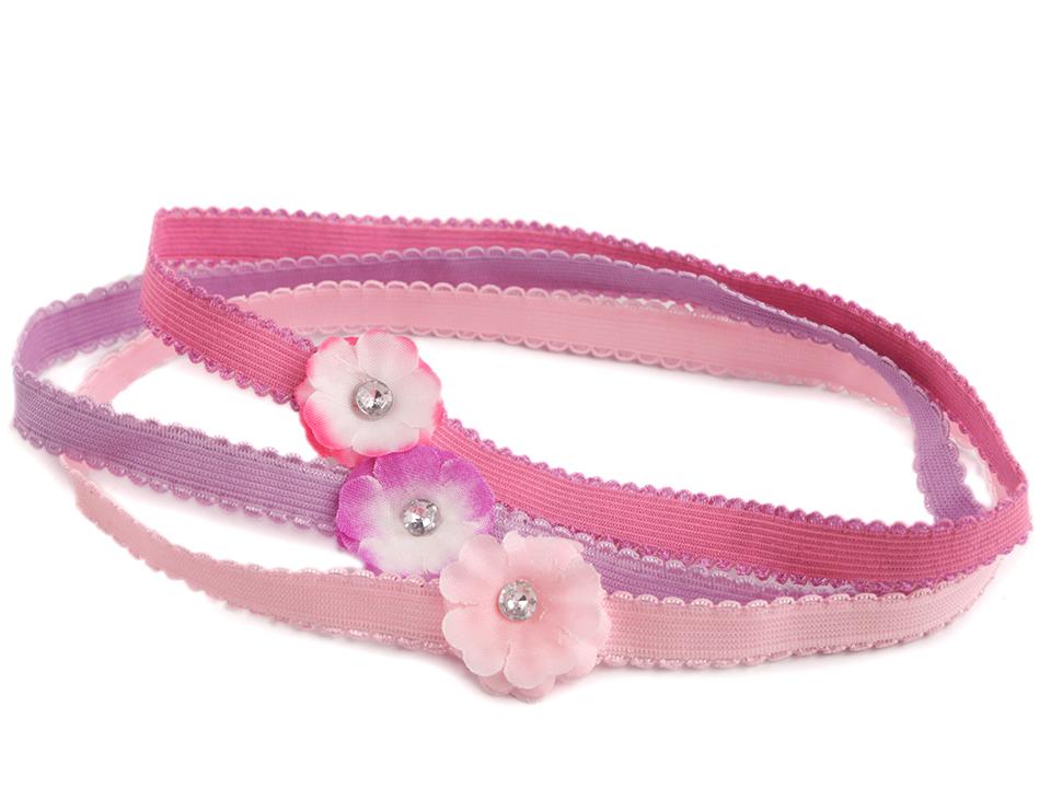 554ad196f59 Dětská elastická čelenka do vlasů s květem sada 3 ks