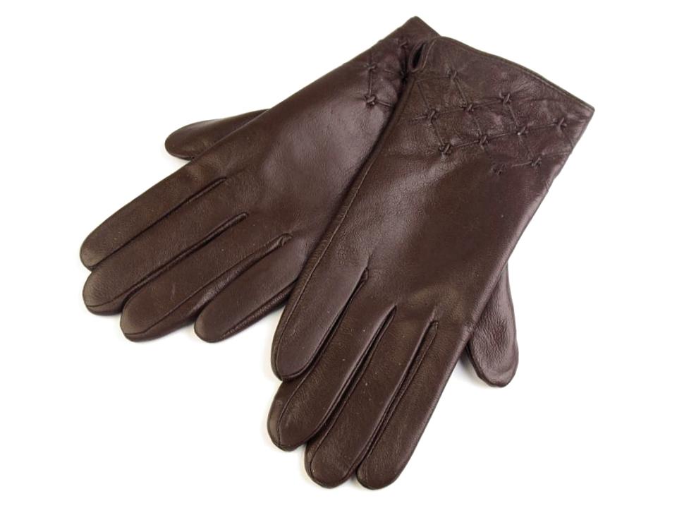 74e1b55002c Dámské kožené rukavice hnědé   černé
