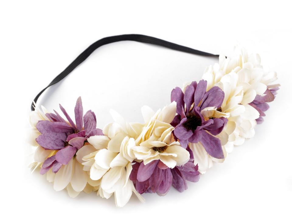 Pružná čelenka do vlasů s květy  f4b58204e3