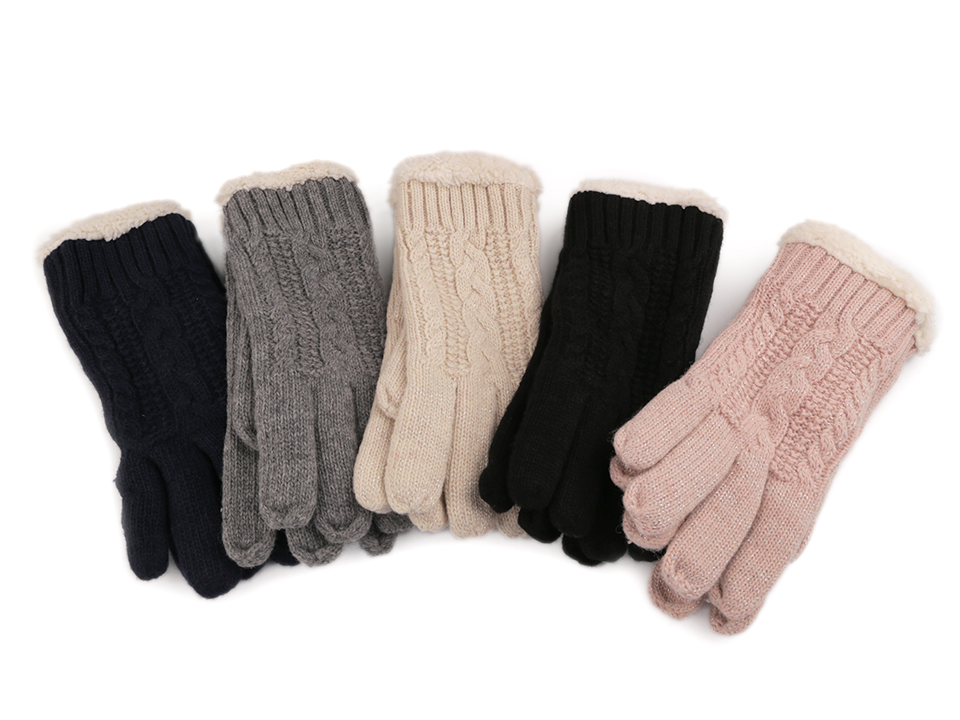 33e516e3143 Dámské rukavice pletené s kožíškem