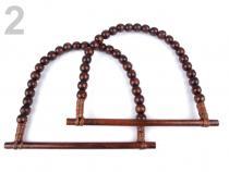 Ucha na tašky z dřevěných korálků 18x21 cm (6 ks)