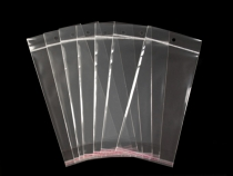 Celofánové sáčky s lepící lištou a závěsem 11x20 cm (100 ks)