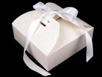 Papírová krabička se stuhou a glitry 21x21x7 cm (1 ks)