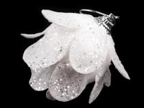 Vánoční květ s glitry 7x7 cm (6 ks)