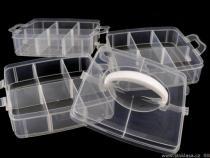 Plastový zásobník 130x150x160mm na korálky patrový s rukojetí (1 ks)