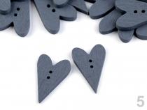 Dřevěný dekorační knoflík 21x33 mm srdce (50 ks)