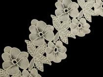 Vyšívaná krajka šíře 140 mm květy