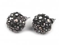 Kovové náušnice shamballa s broušenými kamínky (3 pár)