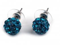 Náušnice shamballa kuličky s broušenými kamínky (3 pár)