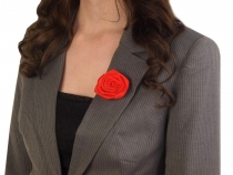 Brož saténová růže Ø5,5 cm vanilková 5ks