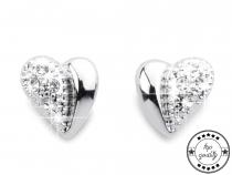 Náušnice srdce s broušenými kamínky (3 pár)