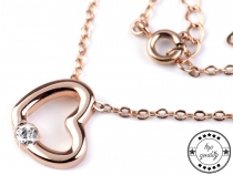 Náhrdelník srdce s broušeným kamínkem (10 ks)