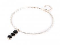 Štrasový náhrdelník s broušenými kameny (3 ks)