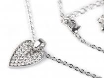 Náhrdelník srdce s broušenými kamínky (1 ks)