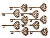 Přívěsek KLÍČ 30x70mm srdce (1 ks)