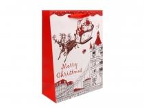 Dárková taška 18x24 cm vánoční s glitry (12 ks)