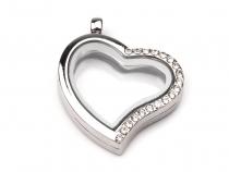 Přívěsek medailon 28x28 mm srdce s kamínky (1 ks)