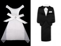 Textilní dekorace ženich a nevěsta 85 mm (1 pár)