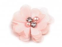Textilní květ Ø50 mm s kamínky (50 ks)