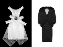 Textilní dekorace ženich a nevěsta 30 mm (5 pár)