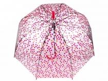 Dámsky dáždnik s rúčkou vystreľovací priehľadný s bodkami