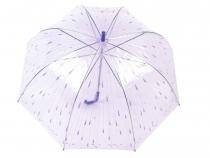 Dámsky dáždnik s rúčkou priehľadný s potlačou