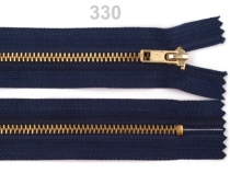 Kovový / mosazný zip šíře 4 mm délka 18 cm kalhotový modrá temná 1ks Stoklasa