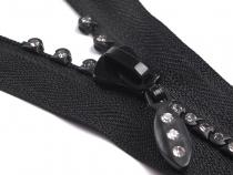 Kostěný zip šíře 4 mm délka 50 cm se štrasovými kamínky (1 ks)