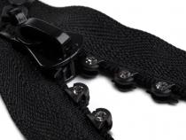 Kostěný zip šíře 4 mm délka 55 cm se štrasovými kamínky (1 ks)