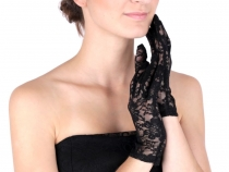 Společenské rukavice 21 cm krajkové (4 pár)