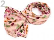 Hedvábný šátek s potiskem motýlů 110x180 cm (1 ks)