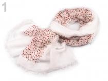 Šátek s potiskem 67x190 cm bílá mléčná 3ks Stoklasa