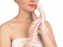 Společenské rukavice 24,5 cm krajkové (5 pár)
