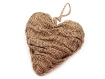 Dekorace srdce juta (1 ks)