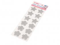 Samolepící dekorace - květy, hvězdy (20 karta)