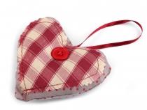 Textilní dekorace srdce (6 ks)