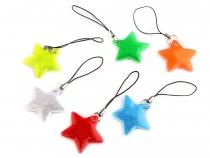 Reflexní přívěsek / taháček hvězda (6 ks)