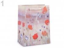 Dárková taška s glitry luční květy, malá velikost 1 ks