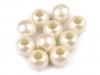 Plastové korálky s velkým průvlekem perleť 11x13 mm (10 ks)