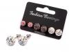 Náušnice shamballa kuličky s broušenými kamínky (1 karta)
