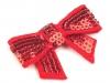 Textilní aplikace mašle s flitry (1 ks)
