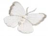 Textilní aplikace motýl s perlami vyšívaný velký (1 ks)
