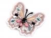 Textilní aplikace motýl s kamínky (1 ks)