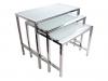 Nerezový stůl se sklem set 3ks (1 sada)