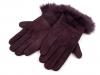 Dámské kožené rukavice s kožešinou (1 pár)
