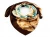 Hedvábný šátek 82x85 cm s květem (1 ks)