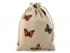 Lněný pytlík s motýly 13x18 cm (1 ks)