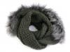 Pletený nákrčník s kapucí a kožešinou (1 ks)