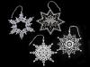 Vánoční krajková dekorace hvězda, vločka (6 ks)
