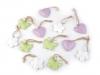 Kovová dekorace srdce, motýl, květ (12 ks)